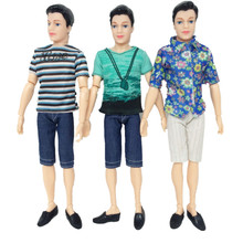 Ken Prince Doll with T-shirt + Pants + Shoes Casual Denim Clothes Suits for Barbies Boyfriend Kid Christmas Toy Gift 1 Piece/lot