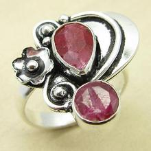 Rubys 2 Gemset Ring,  Silver Overlay DEAL OF THE DAY Jewelry Size US 5.5 NEW