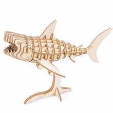 Drop ship 3D Puzzle DIY Handmade Wooden Animal Model 16cm Shark Toys Standing Office Desk Decor TG274(China)