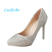 The new thin soled shoes bride diamond wedding shoes silver rhinestone up heels point toe women pumps(China)