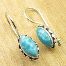 "Amazing MARQUISE LARIMAR SIMPLE Earrings Silver Plated Jewelry 1"" ONLINE STORE"
