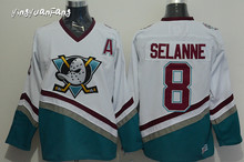 New Mighty Ducks Movie Jersey CCM #8 SELANNE Cheap Men Ice Hockey Jerseys Purple White Stitched Sewn Best Quality free shipping
