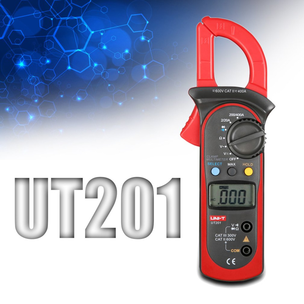 Digital Clamp Ammeter UT201 LCD Digital Clamp Multimeter DC AC Voltmeter AC Ammeter Resistance Meter With Data Hold Function<br>