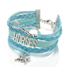 Fashion Jewelry high quality Handmade unisex Barcelet horse Metal Plate decorations Charms 4 color Braided Wristband Bracelets