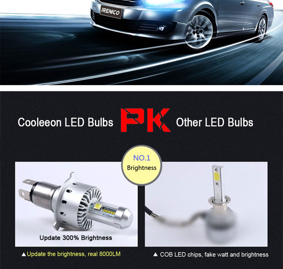 COOLEEON LED Car Lights H1 H4 H7 H11 9005 9006 Auto Headlamp Bulbs 12V 24V Cars Headlights 80W CREE LED Chips 6000K White Lamp (12)