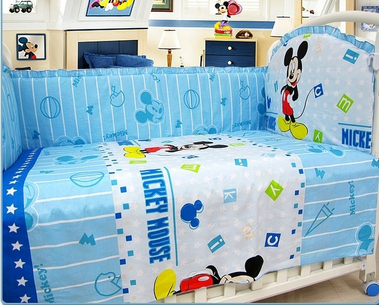 Promotion! 6pcs Mickey Mouse Cheap Crib Bedding Baby Bedding Cotton Crib Bedding Set,include (bumpers+sheet+pillow cover)<br><br>Aliexpress