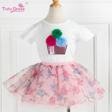 2017 Baby Girl Clothes Summer Baby Girl Clothing Sets Cotton T-shirt 2Pcs Children Clothes Suit With Pink Floral Tutu Skirt
