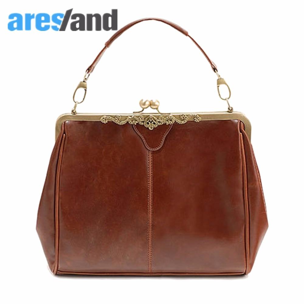 Aresland Vintage Style Women Lady Kiss Lock PU Leather Shoulder Purse Handbag Tote Bag Satchel<br><br>Aliexpress
