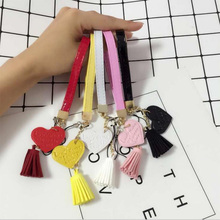DIY Flower Girly Mobile Phone Chain Love Tassel Lanyard PU Pattern U Disk USB Hand Rope Camera Wrist Strap Pendant Smart Case