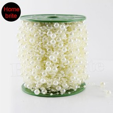60m/Roll Wedding Decoration Centerpieces Supplies 8mm Fishing Line Pearls Beads Chain Christmas Pearl Garland Decor PT089