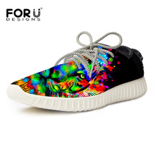 FORUDESIGNS Camouflage Tiger Printing Flyknit Lace Up Running Shoes Mens Outfoor Mesh Sport Sneakers Sprint Autumn Shoe Boys