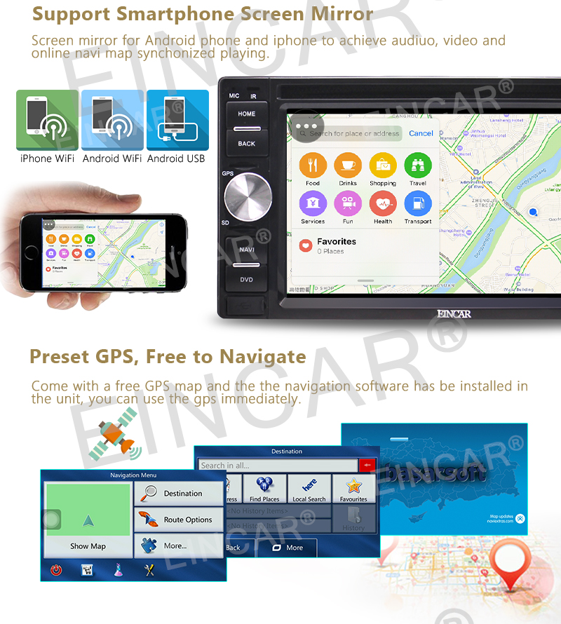"""Free Front/Backup Camera+Android 6.0 Double Din Car DVD Player GPS Navigation 6.2""""Car Stereo Radio Receiver Bluetooth Head Unit"""