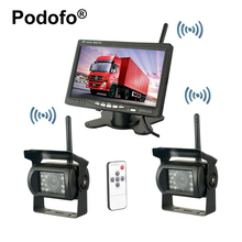 "Podofo Wireless Dual Rear View Backup Reversing Cameras Waterproof IR Rearview Camera 7"" Monitor Kit for RV Truck Trailer Bus(China)"
