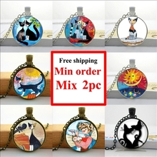 Wholesale Colorful Cats Necklace Rosina Wachtmeister Cats Pendant Silhouette Cats Jewelry Glass Dome Necklace