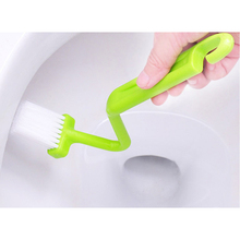 1PCS Portable Toilet Brush Scrubber V-type Cleaner Clean Brush Bent Bowl Handle For Household Cleaning Corner Cleaning Brushes(China)