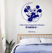 Wall Decal Vinyl Sticker Moon With Mickey And Minnie Mouse Quote The Most Inportant Things Is Family Love Decor Kids Room WW-332