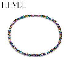 H:HYDE Unisex Rope Chain Strand Beads Necklace Hematite Magnet Fashion Multicolor Beads Chakra Natural Stone Charms Necklaces(China)