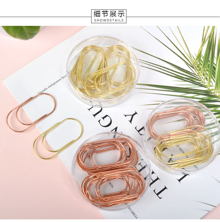 100 Clips per Box Hillento Rose Gold Paper Clips in Elegant Magnetic Marble Rose Gold Clip Holder 28mm Paper Clips for Office Supplies Desk Organizer
