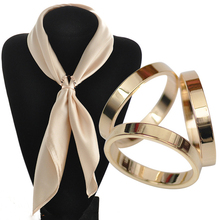 BS044 Silk Scarf Jewelry Accessories Buckle Shawl Ring Clip Tricyclic Scarves Buckle Luxurious Simple Women Girl Party Gif(China)