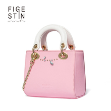 FIGESTIN Luxury Handbags Women Bags DesignerLeather Casual Tote Original Design Pink Diamonds Rivets Zipper Ladies Bag Handbags