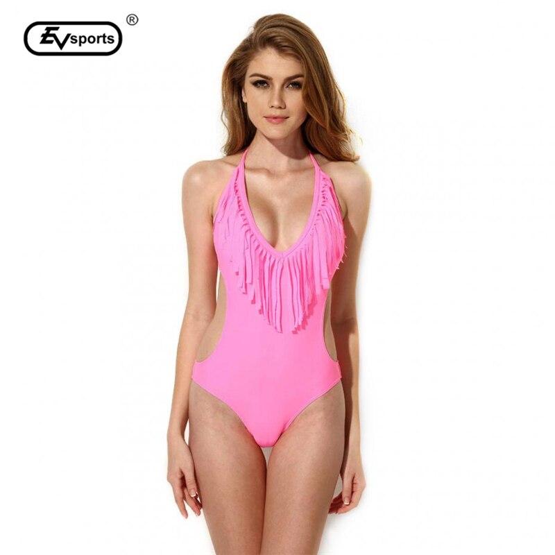 New 2017 Womens Swimwear Sexy Bikinis Set Swimsuit Pink  Tassels Bikini Set Swimsuit Push-up Fast Shipping<br><br>Aliexpress