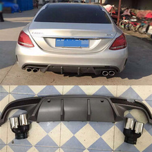 W205 PP unpainted rear bumper lip diffuser with exhaust tip for Mercedes Benz W205 Sport bumper 2015