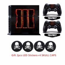 Classic ps4 Vinyl Sticker Decal &4pcs White Skull Caps+2x LED Light bar Stickers For Sony Doulshock 4 Palystation 4 Console