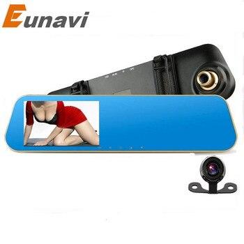 Eunavi 4.3 дюймов Full HD 1080 P Автомобильное Зеркало Заднего Вида DVR автомобиль Парковочная Камера Ночного Видения Автомобильный ВИДЕОРЕГИСТРАТОР Двойная Камера Видео рекордер