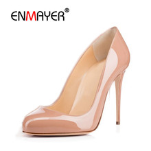 ENMAYER Woman Shoes 2017 Summer Pumps Round Toe Slip-on Plus Size 35-46 Sexy Extreme High Heels Party Wedding Shoes Pumps