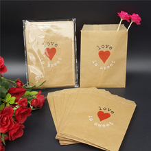 "Wedding Favor Candy Bags - Antique Victorian Rustic Cottage Wedding Heart ""Love is Sweet"" Kraft Candy Buffet Favor Treat Bags"