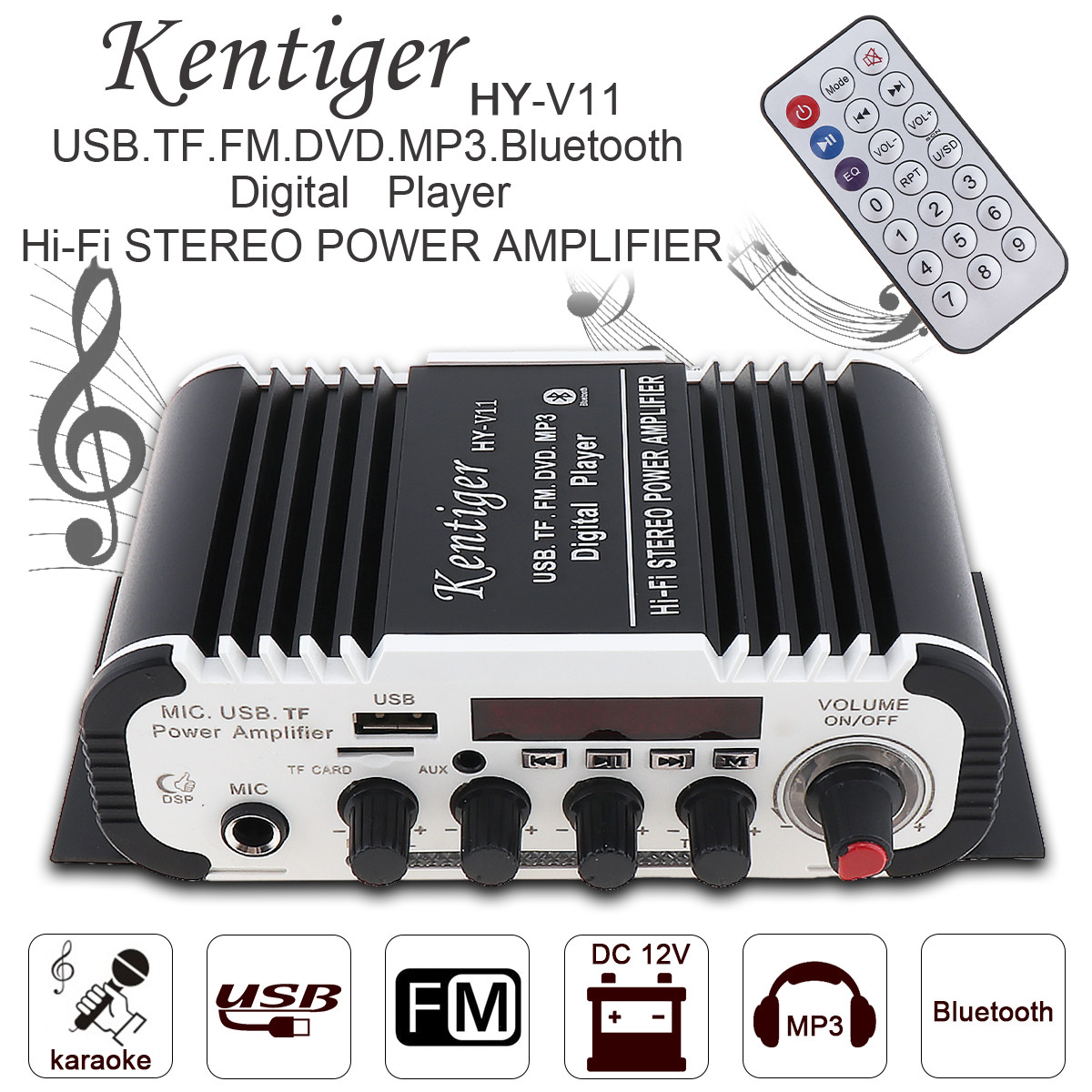 Kentiger 2CH HI-FI Bluetooth Car Audio Power Amplifier FM Stereo Radio Player Support SD USB DVD MP3 Input Auto Motorcycle