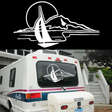 Sunset Mountain Lake Leisure Arts Styling Pattern Car Sticker for SUV Truck Camper RV Outdoor Sports Glass Windows Vinyl Decal