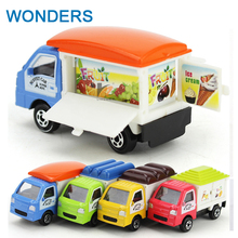 Cute Children's toys 1:64 alloy sliding cute little dining car fast food model Ice Cream Truck Diecast toy kids Christmas gift