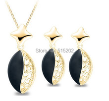 Yiwu factory wholesale ladies fashion star suite Pierced earrings + necklace piece Enamel Star LM-S136