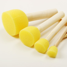 4Pcs/Set Kid Sponge Paint Brush Original Wooden Handle Children Painting Graffiti 4 Sizes Kids Early Learning Toy