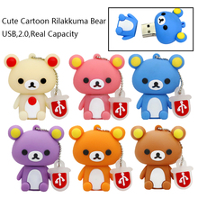 New Lovely Pen drive Rilakkuma Bear Style USB flash drive Pen stick memory card U disk pendrive 4GB 8GB 16GB 32GB
