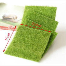 Nearly Natural Grass Mat Green Artificial Lawns 15x15cm Small Turf Carpets Fake Sod Home Garden Moss For Floor Decoration(China)