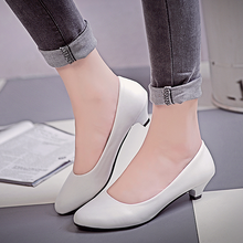 Basic Pumps Womens Low Heels Shoes OL Office Lady Dress Shoes Woman Wedding Shoes Slip on White Spring zapatos mujer 2407