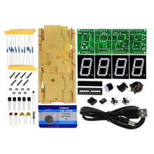 Smart Electronics 4Digit Digital LED Clock Kit Light Control Temperature Display LED Digital Clock DIY Kit With Transparent Case