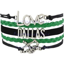 Custom-Infinity Love National Hockey League Dallas Stars Bracelet Ice Hockey Fans Sport  Wrap Leather bracelet-Drop Shipping