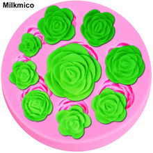 Milkmico M036 9 Cavity Rose Flower Shape DIY Cake Decorating Fondant Silicone Sugar Craft Molds,Random Color(China)