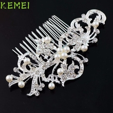 Beauty Girl Hot Charming Bridal Wedding Salix Leaf Diamond Pearl Hairpin Hair Clip Comb Jewelry J12X10(China)