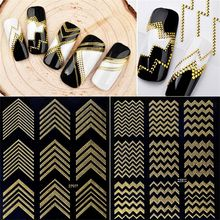 1 Sheet 3D Nail Art Stripes Decals Sticker Gold Rivert Metal Adhesive Nail Sticker Decals Wave Line DIY Manicure Decor Tools(China)