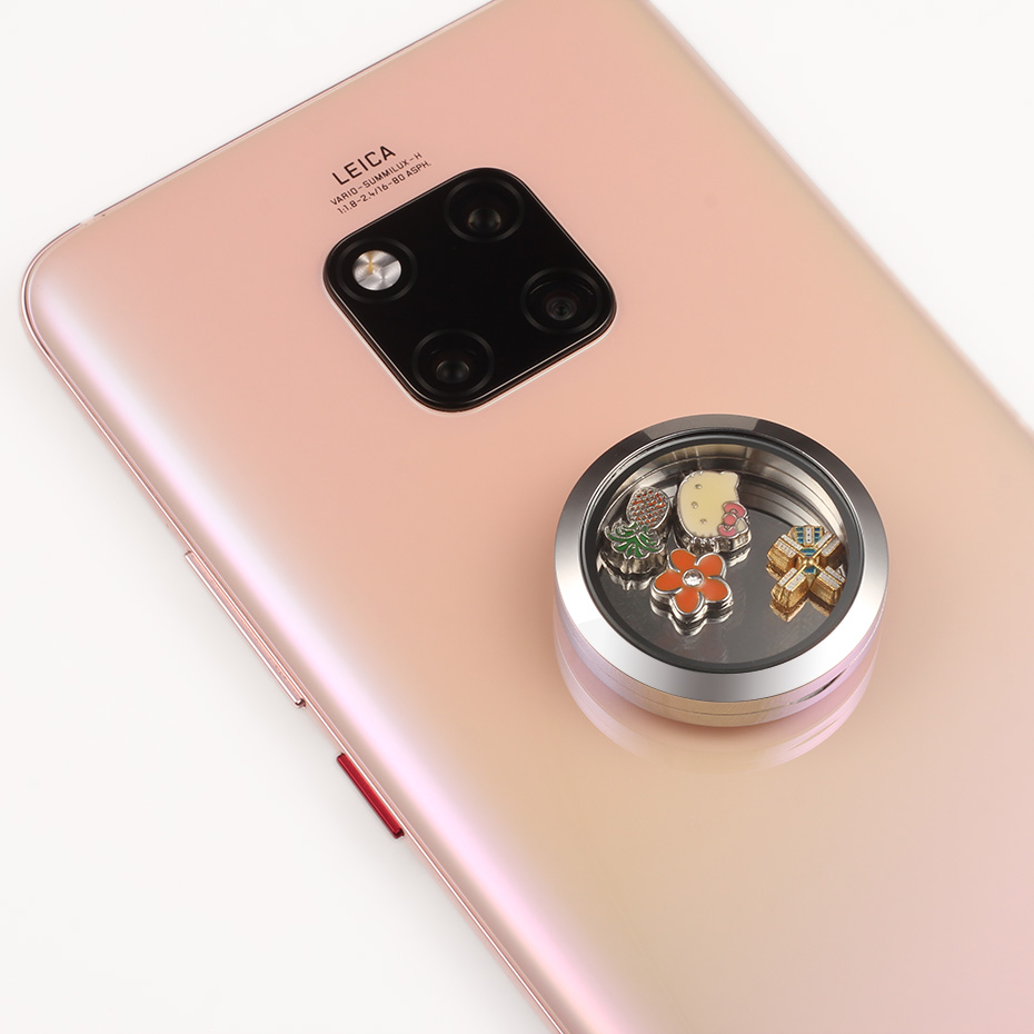 Carvort Stick Floating Locket for Cellphone 30mm Stainless Steel Silver Living Lockets Memory Stone Charms Storage Box with 3M- (8)