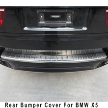 Stainless steel rear bumper protector step panel boot cover sill plate trunk trim accessories for 2011 2012 2013 BMW X5  E70
