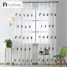 Christmas tree embroidered tulle linen curtains white modern window drapes voile living room curtain sheer fabrics window(China)