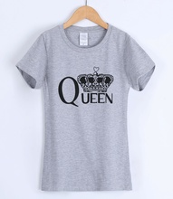 QUEEN CROWN pattern fashion t shirt women 2017 summer cotton o-neck female T-shirt brand clothing streetwear top tee shirt femme(China)