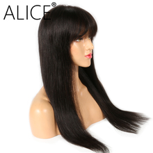 ALICE Silky Straight 360 Lace Frontal Wig Brazilian Remy Human Hair Wigs With Bangs Bleached Knots Natural Color(China)