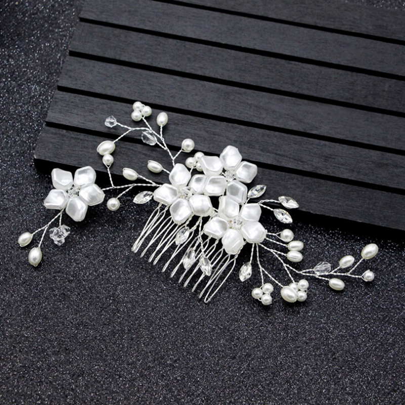 Bridal Crystal Pearl Flower Hair comb HairPin Wedding Clips Romantic Rhinestone Crown Hair Pins Bride Hair Jewelry Accessories