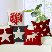 Stylish Cushion Cover Deer Head Throw Pillow Christmas Gift Farmhouse 17.7 *17.7 Red Moose Cotton Linen Home Funda De Cojines